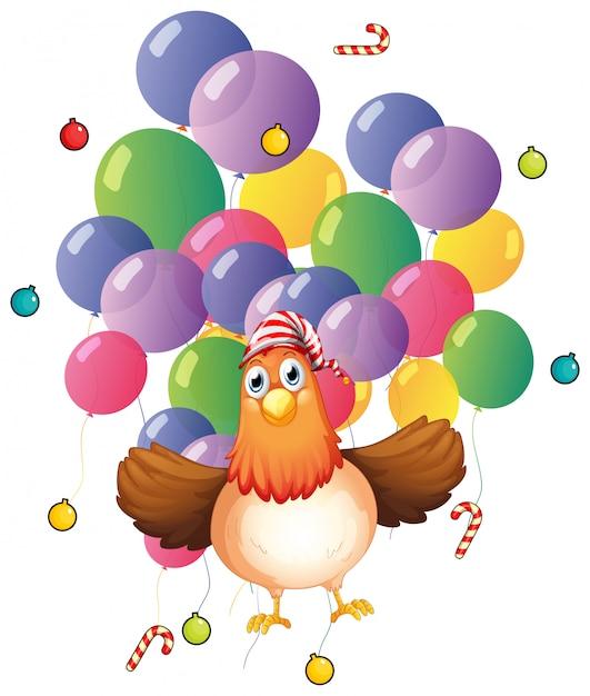 Pollo e palloncini colorati Vettore gratuito