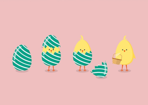 Pollo giallo che fende dall'uovo Vettore Premium
