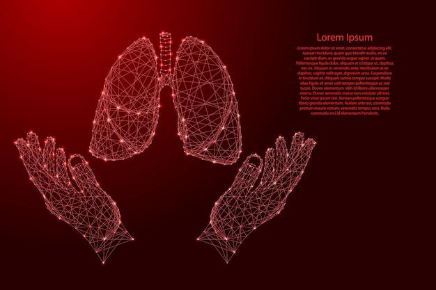 Polmone organo umano e due in possesso, proteggendo le mani dalle futuristiche linee rosse poligonali Vettore Premium