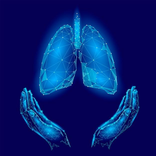 Polmoni umani del manifesto di giornata mondiale della tubercolosi in mani sfondo blu Vettore Premium