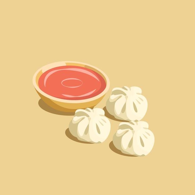 Polpetta tradizionale nepalese di momos con salsa al pomodoro Vettore Premium