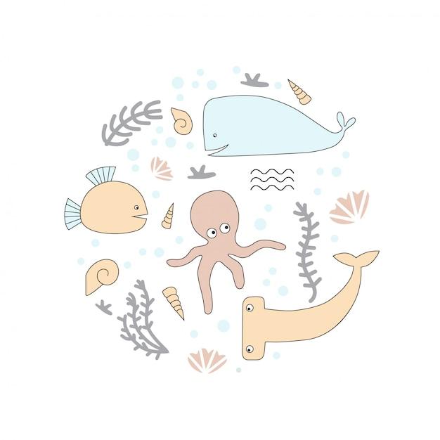 Polpo, guscio, pesce martello, balena. Vettore Premium