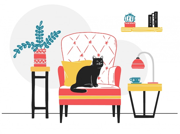 Poltrona, gatto sulla sedia. Vettore Premium