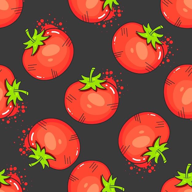 Pomodori rossi d'annata sul vettore senza cuciture del modello Vettore Premium