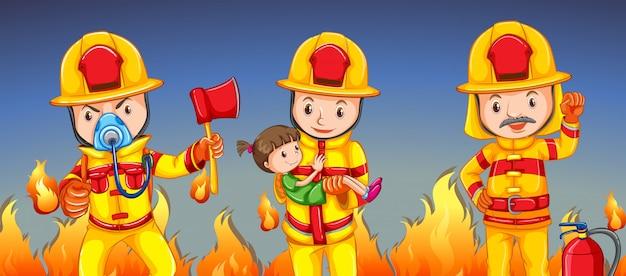 Pompiere che aiuta una ragazza Vettore gratuito