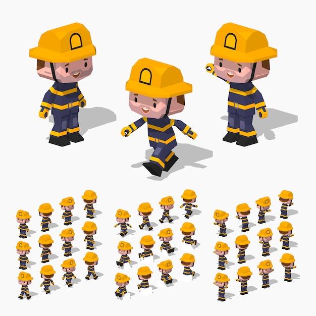 Pompiere isometrico 3d lowpoly Vettore Premium