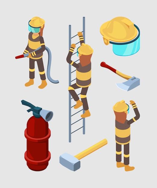 Pompieri isometrici. attrezzatura professionale delle illustrazioni dell'automobile 3d dell'estintore degli stivali del tubo della caserma dei pompieri isolate Vettore Premium