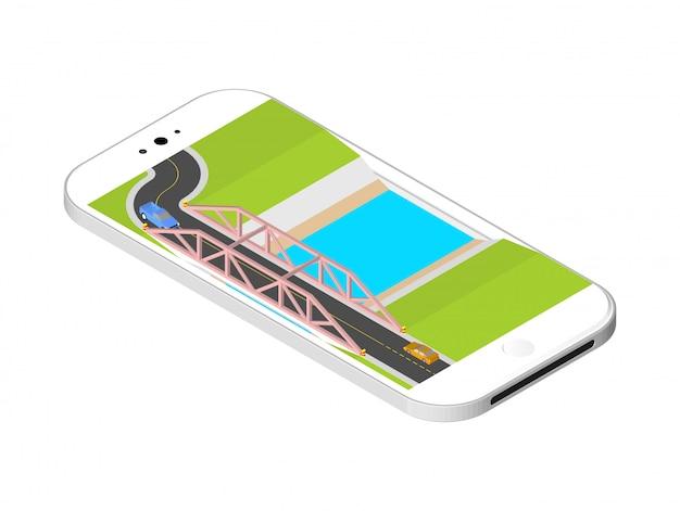 Ponte isometrica con una strada sopra il fiume in piedi sullo schermo dello smartphone. illustrazione vettoriale isolato Vettore Premium