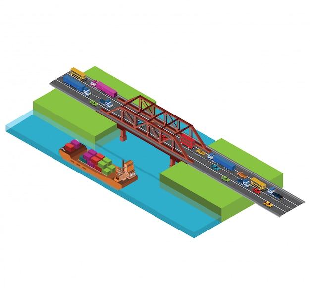 Ponte urbano della città isometrica con traffico Vettore Premium