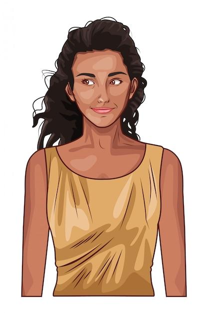 Pop art cartoon bella e giovane donna Vettore Premium