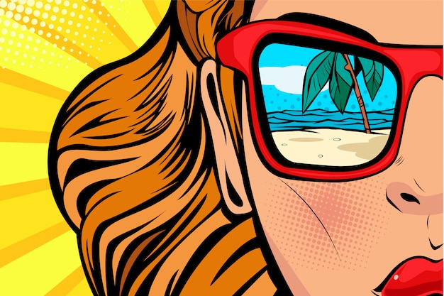 Pop art donna con spiaggia e mare riflesso in estate. Vettore Premium