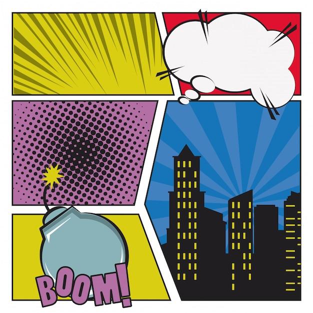 Pop art e fumetti Vettore Premium