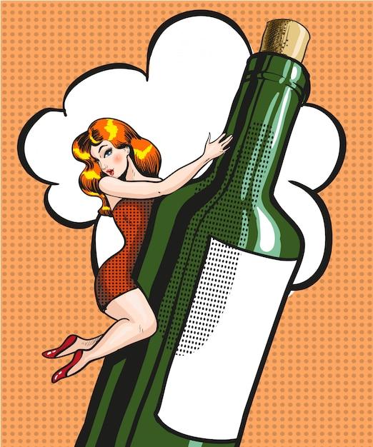 Pop art illustrazione di giovane donna su una bottiglia Vettore Premium
