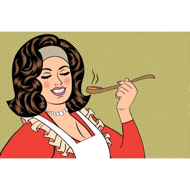 Pop art retrò donna con il grembiule degustazione sua illustrazione vettoriale cibo Vettore gratuito