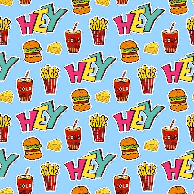 Pop art seamless con cibo. carta da imballaggio moderna Vettore Premium