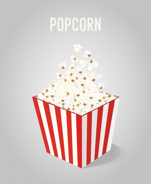 Popcorn in scatola a strisce Vettore Premium