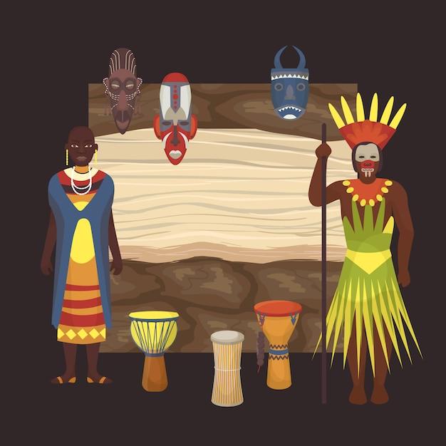 Popoli di pelle nera nativi di tribù africane e aborigeni dell'africa Vettore Premium