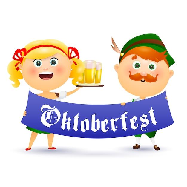 Popolo tedesco che tiene l'oktoberfest Vettore gratuito