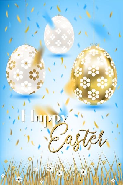 Porceline di pasqua e uova e coriandoli dorati nel cielo e nell'erba Vettore Premium