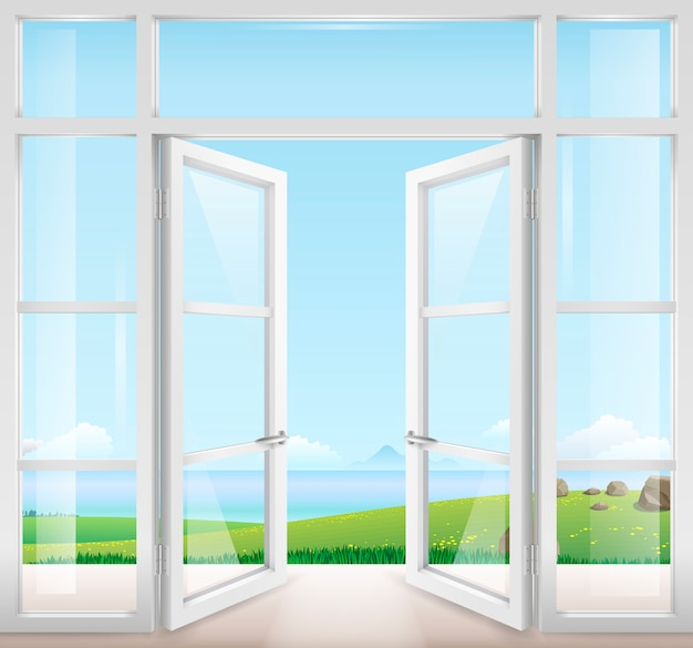 Porta con finestra sulla terrazza Vettore Premium