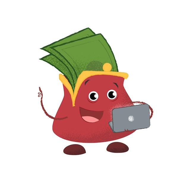 Portafoglio allegro con laptop. donazione, rimborso, budget. Vettore gratuito