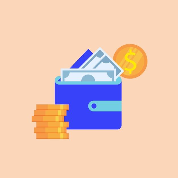 Portafoglio blu con banconote di carta e monete del dollaro Vettore Premium