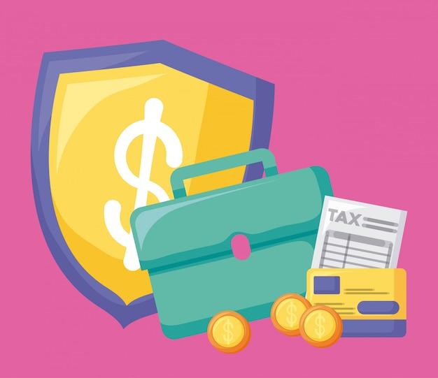 Portafoglio con economia e finanziaria con set di icone Vettore Premium