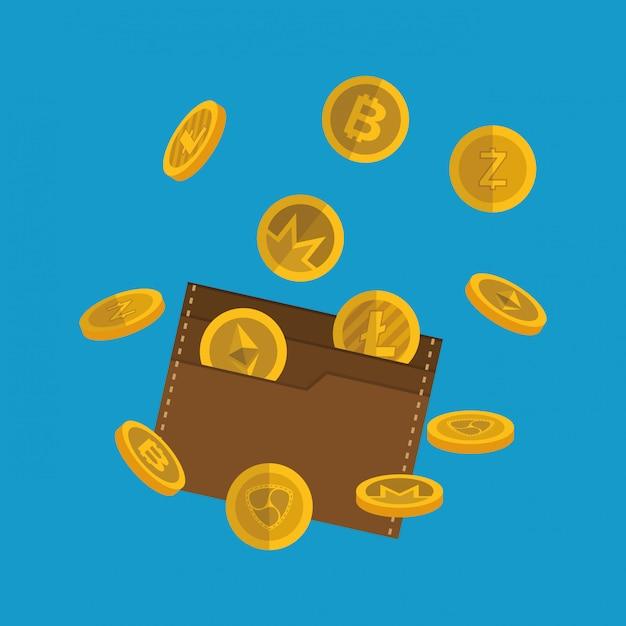 Portafoglio con monete virtuali Vettore Premium