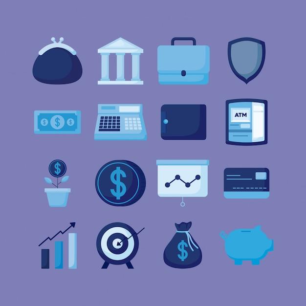 Portafoglio con set di icone economia finanza Vettore Premium