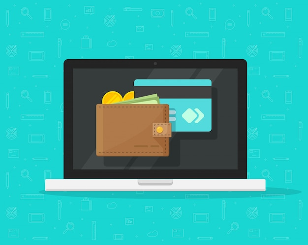 Portafoglio elettronico sul computer portatile o sul fumetto piano dell'icona di vettore dei soldi digitali Vettore Premium