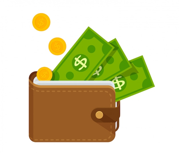 Portafoglio in pelle marrone con un sacco di soldi Vettore Premium