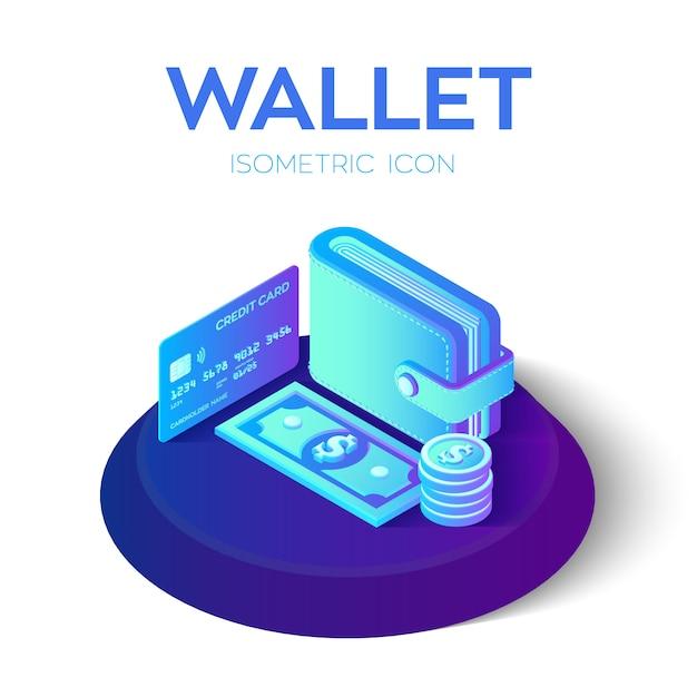 Portafoglio isometrico 3d con carta di credito e denaro. dollaro. carta di credito. concetto di pagamento. Vettore Premium