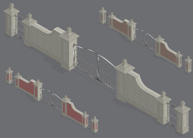 Portale del cancello isometrico di vettore Vettore Premium
