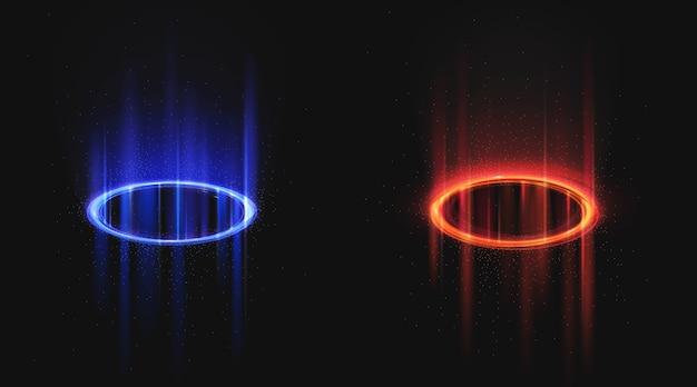Portali magici blu e rossi Vettore gratuito