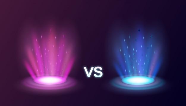 Portali magici radianti realistici rosa contro il blu con gli effetti della luce sull'illustrazione nera del fondo Vettore gratuito