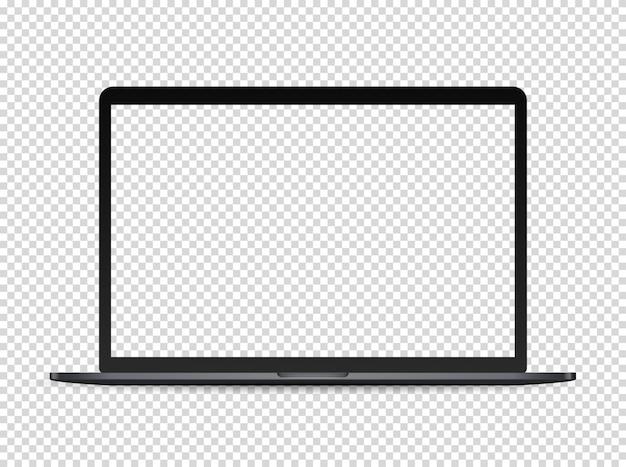 Portatile premium moderno su sfondo scuro. schermo trasparente per un contenuto Vettore Premium