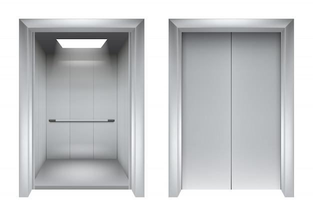 Porte dell'ascensore. chiusura e apertura ascensore metallico in edificio per uffici immagini realistiche 3d Vettore Premium