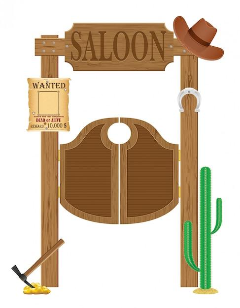 Porte nell'illustrazione occidentale selvaggia di vettore del salone occidentale Vettore Premium