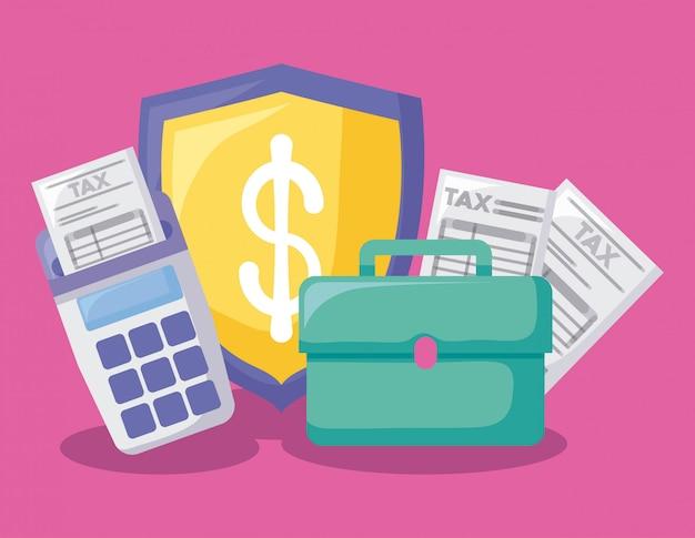 Portfolio con economia e finanziario Vettore Premium
