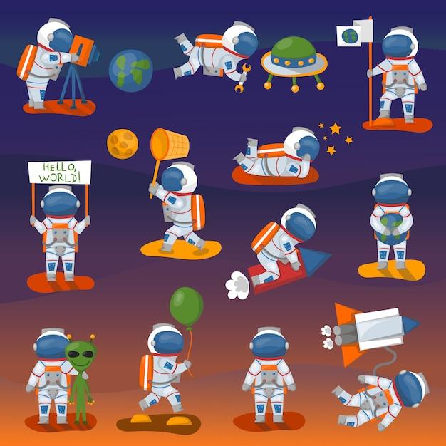 Posa differente del carattere dell'astronauta di vettore nello spazio Vettore Premium