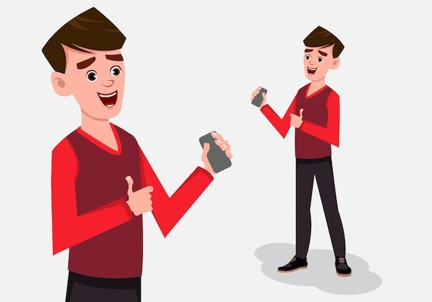 Posa diritta del personaggio del ragazzo del fumetto con lo smart phone a disposizione. Vettore Premium