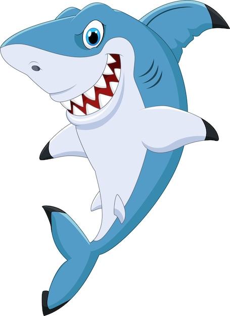 Posa divertente dello squalo del fumetto Vettore Premium