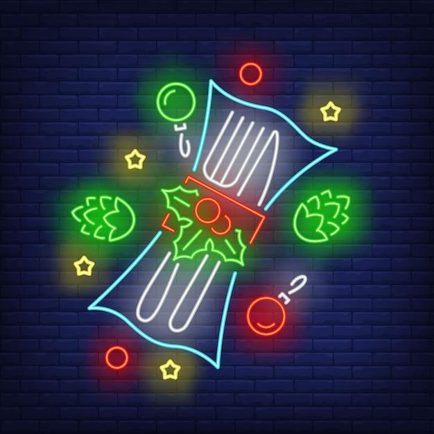 Posate di natale in stile neon Vettore gratuito