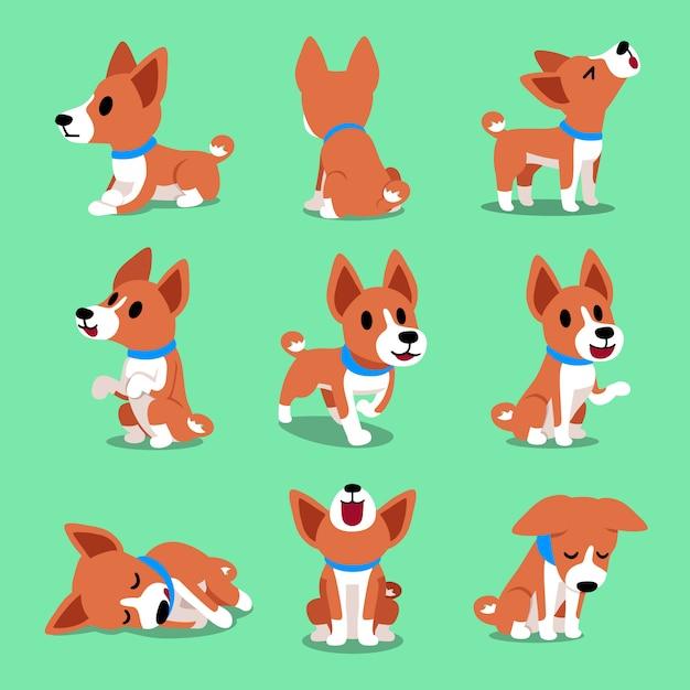Pose del cane basenji del personaggio dei cartoni animati Vettore Premium