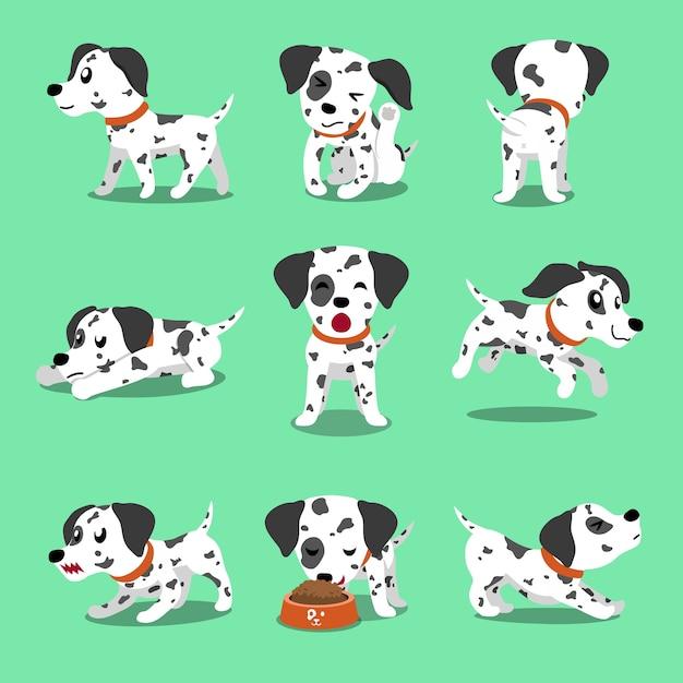 Pose del cane dalmata del personaggio dei cartoni animati di vettore Vettore Premium