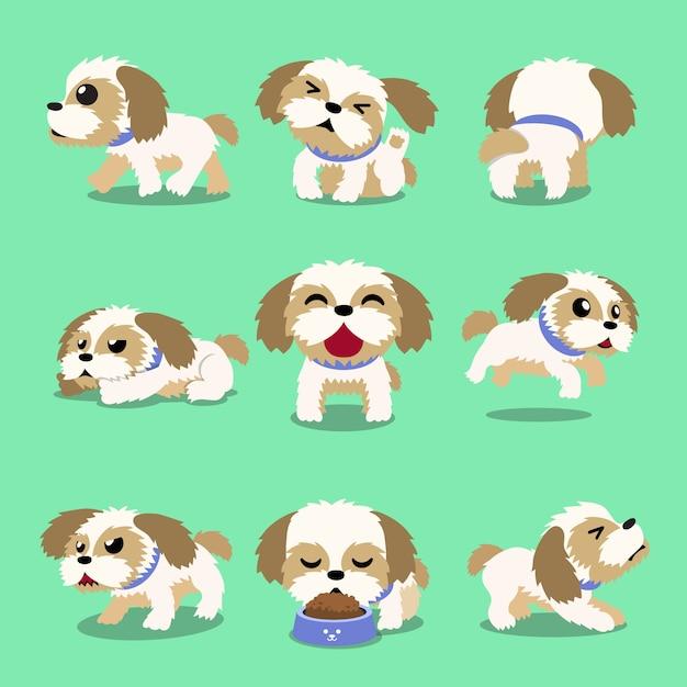 Pose del cane di tzu di shih del personaggio dei cartoni animati Vettore Premium