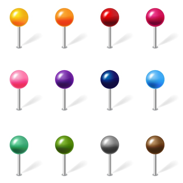 Posizione colore set pin isolato Vettore Premium