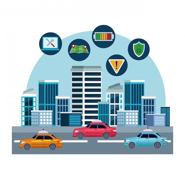 Posizione del servizio di auto taxi Vettore gratuito