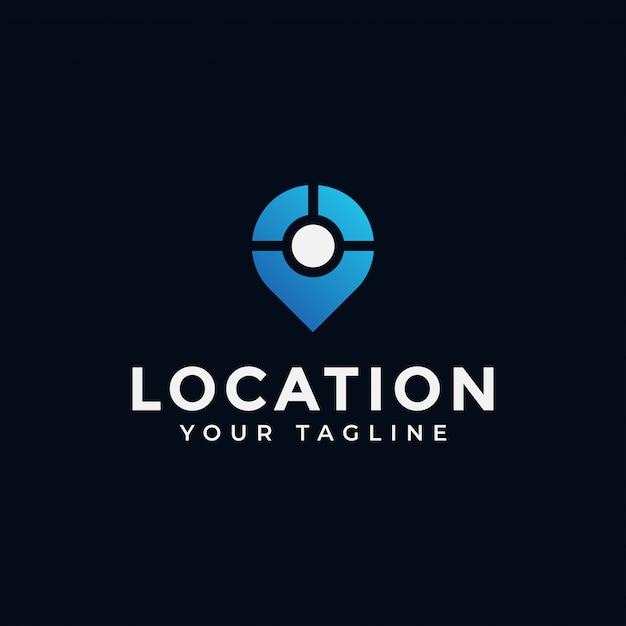 Posizione, punto, gps, posizione, navigazione della mappa, posiziona logo design Vettore Premium