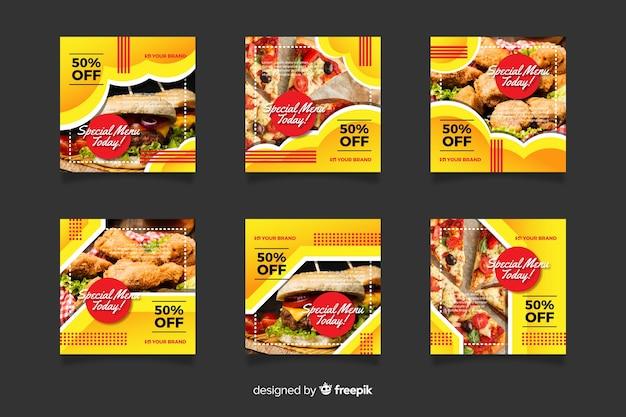 Post di instagram con raccolta di cibo Vettore gratuito